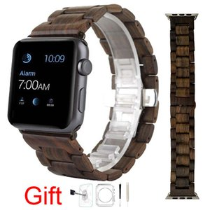 Wholesale Natural Wood Watch Band Sandalwood Wrist Wooden Strap For Apple Iwatch MM With Adaptor Retail Box