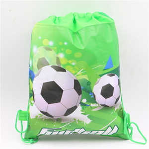 Wholesale Football Theme Non woven Fabric Drawstring Gifts Bags Kids Favors Baby Shower Happy Birthday Party Events Decoration