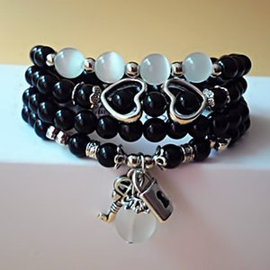 Wholesale Natural crystal beaded bracelet black stone key lock cat eye stone multi hand string hand jewelry