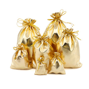 Gold Colored Fabric Dust Proof Bags with Drawstring Jewellery Cosmetic Storage Gift Packaging Pouches Retail Shop Give Away Packing Bag