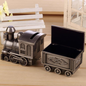 Wholesale Vintage Piggy Bank Locomotive Loco Railway Alloy Owl Money Box Train Engraving Kids Birthday Party Favors Christmas ldren s day gift