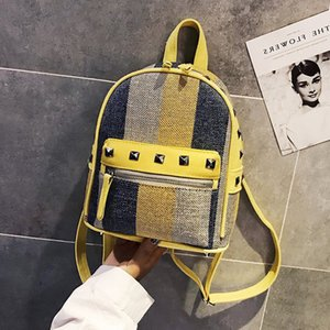 Wholesale Girls Diamond Rivet Stripe Canvas Backpack Mini Travel Leisure Small Backpacks Women Fashion Shoulder Bags Korean Style