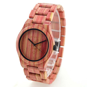 Wholesale Pink bamboo wooden watch wristwatch for men women unisex individuality watch hot popular big promotion