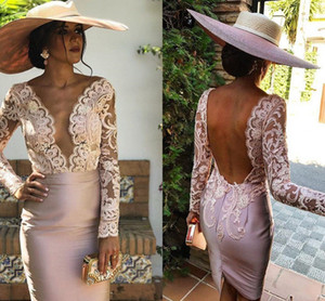 Pink Champagne Long sleeve Cocktail prom Dresses Sexy Deep V-Neck Lace And satin Party Dresses Backless Elegant special Occasion Dresses on Sale