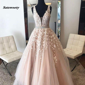 Wholesale Blush Pink Flower Lace Long Evening Dresses Abendkleid Shiny Rhinestone Sash A-line Modest Tulle Formal Evening Gowns Lace Up