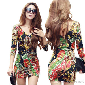 New fashion Sexy Plus Size Dress Print Floral mini bodycon long sleeve women party evening casual clothing new fashion club winter