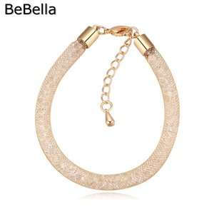 Wholesale BeBella gold color plated wrap bracelet fill with shiny crystals from Czech for women gift fashion jewelry in colors