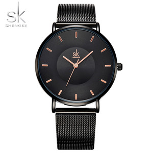 Wholesale Shengke Fashion Black Women Watches High Quality Ultra thin Quartz Watch Woman Elegant Dress Ladies SK