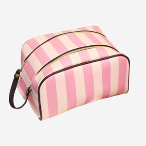 Girl PU Leather Stripe Cosmetic Bag For Make Up Travel Cosmetic Bag Women Waterproof Makeup Bags For Women Zipper Cosmetiqueras
