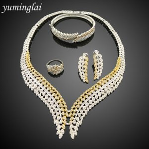 Wholesale African Dubai Two Tones Gold and Silver Plated Jewelry Set Leaves Shape Zircon Bridal Jewelry Set FHK3122