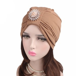 Muslim Women Cotton Knotted Pearl Brooch Turban Hat Chemo Beanies Caps Headwrap Hijab Hair Loss Cover Accessories For Cancer