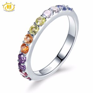 Hutang Natural Gradation Color Multi Gemstone Citrine Garnet Peridot Solid 925 Sterling Silver Ring Fine Jewelry presents Gift