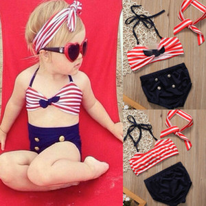 Wholesale PrettyBaby Korean Baby Girls Bikini Kids Girl Swimwear Baby Swimsuit Ruffle Bow Princess Three Pieces Swim Cute swimsuit set