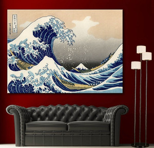 Wholesale Framed High Quality Katsushika Hokusai The Great Wave off Kanagawa Decor Fine Home Wall Art Oil Painting On Canvas Various Sizes Sc055