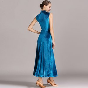 Wholesale 4colors velvet cheongsam ballroom dance competition dresses waltz dance fringe luminous costumes standard ballroom dress foxtrot