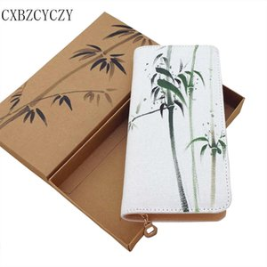 Wholesale Chinese Style Women Wallets Hand painted Wallet Vintage Female Purse Long Coin Phone Holders Ladies Wallet Hasp With Box Gift