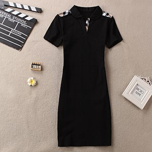 Wholesale 2019 Luxury Sexy Women Dresses Grid Stripe Print short Sleeve Dresses Lady Designer Clothing Club Skinny Dresses