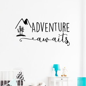 Wholesale Baby Nursery Wall Stickers Adventure Awaits Mountain Vinyl Decal Quote Travel Theme Wall Decor Bedroom Decal Kids Room S739