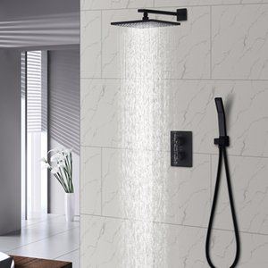 Wholesale Black Rain Shower Set Bathroom Thermostatic Mixer Wall Mount quot Air Booster Rainfall Brass Shower System Head Save Water