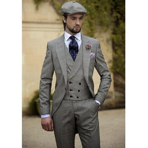 Wholesale Three Piece Best Men Suits Vintage Grey Men s Wedding Tuxedos Slim Fit Groom Wear Business Suit jackets vest pants
