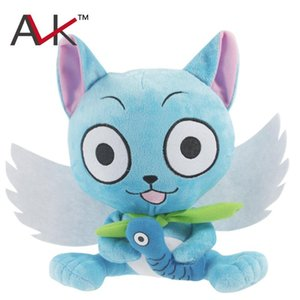 Wholesale Japanese Anime Cartoon Fairy Tail Happy with fish Plush Toy soft stuffed Doll Figure Toy cm for kids Birthday Gift