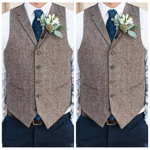 Wholesale Country Farm Wedding Gray Wool Vests Custom Online Groom Vest Slim Fit Mens Dress Suit Vest Prom Wedding Waistcoat Tied Back Groom Vest