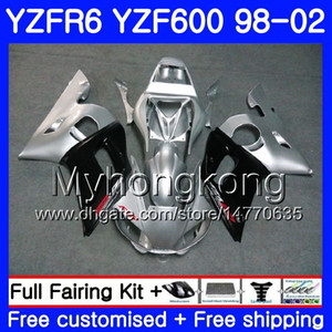 Wholesale r6 silver resale online - Body For YAMAHA YZF600 YZF R6 HM YZF R6 YZF YZF R600 YZFR6 Silver black light Fairings