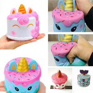 Wholesale Squishy Unicorn Cake Kawaii Fish Tail Cream Bread Slow Rising Super Soft Squeeze Stress Reliever Toys For Kids Home Decorative HH7