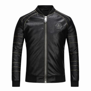 Wholesale High Quality Men Designer Leather Jackets Youth Motorcycle Leather Outwear Youth Brand Coat 001