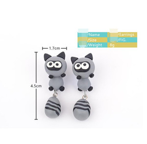Wholesale New fashion animals soft earrings cartoon raccoons cute ear studs earrings alternative characters cute sprouting fashion ladies