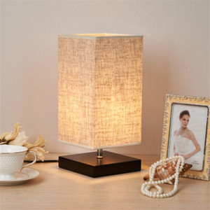 Bedside Table Lamp Minimalist Solid Wood Table Night Light Bedside Desk Lamp Simple Desk Lamps Round Nightstand Lamp with Fabric Shade on Sale