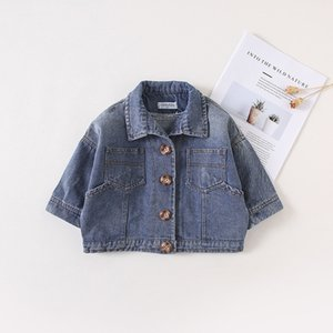 Korean Cotton Autumn Baby Boy Girls Jeans Coat Long Sleeve Infant Jackets Blue Black Color Children Clothes Outwear Fashion Tops