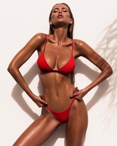 Wholesale Sexy Bikini for Women color Women s Swimwear Split Pure Color Red Bikini Two Piece Swimsuit