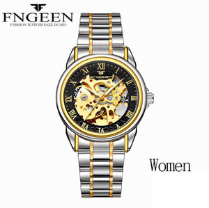 Wholesale ladies skeleton watches resale online - Women Watches Automatic Mechanical Ladies Watches Female Tourbillon Clock Gold Fashion Skeleton Watch Top Brand Wristwatch Relogio Feminino
