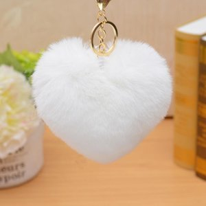 Love Heart Pompom Ball Keychain Fluffy Fake Rabbit Fur Ball Key Ring Women Bag Jewelry Accessoires Party Favors