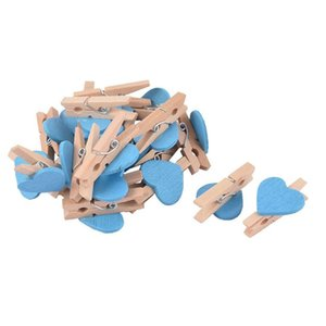 Love Heart Card Photo Clothespins Pegs Mini Wooden Clip 20pcs Blue