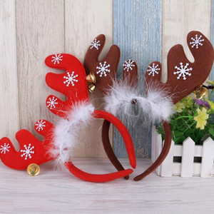 Wholesale Merry Christmas ornaments bell feather head band decorations antlers Christmas headband party Christmas decorations cloth headband gifts