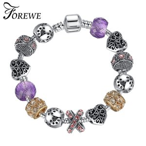 Wholesale FOREWE European Styles DIY Charm Bracelet With Purple Murano Glass Beads Snake Chain Beads Bracelet for Women Jewelry Gift