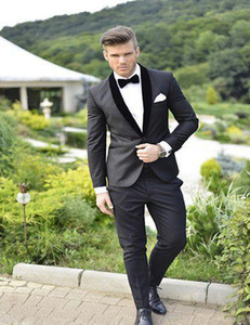 Wholesale 2019 Formal Custom Made Groom Tuxedos Wedding Event Men Suit Jacket Pants Custom Made Groom Suits With Shawl Lapel