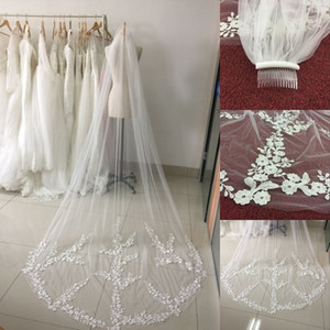 Wholesale Real picture meters One Tiered Lace Long Elegant Wedding Bridal Veil With Comb Veu de Noiva Edge Wedding Veils CPA886