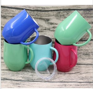 Wholesale stainelss steel for sale - Group buy 12oz stainelss steel coffee cup Egg shape red wine mugs with handle double wall Vacuum flask kitchen bar Drinkware milk cups