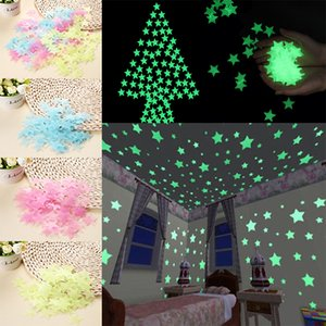Wholesale 3D Wall Stickers Decal Starry Night Wall Ceiling Glow in the Dark Luminous Stars Sticker Nursery Kids Room Wall Sticker Home Decoration