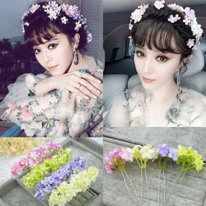 Wholesale The bride jewelry flower fairy purple green white flowers small fresh female headdress flower hair accessories hairpin trumpet
