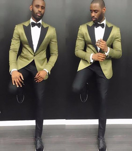 Wholesale Stylish Young Men Suits Summer Notch Lapel Groom Wedding Tuxedos Pieces Army Green Satin Men Party Tuxedo With Black Pants
