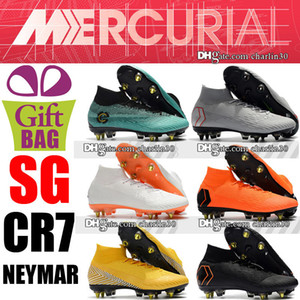 High Top Original CR7 Soccer Cleats Mercurial Superfly VI 360 Elite CR7 SG Soccer Shoes Cristiano Ronaldo Neymar Football Boots Socks