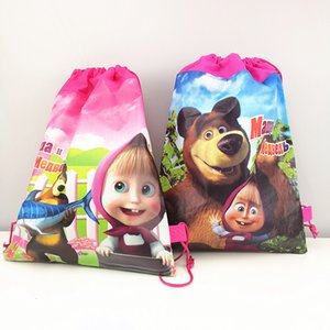 Wholesale 1pc cm Masha and Bear Gift Bag Non Woven Fabric Drawstring Backpack Loot Bag Birthday Party Supplies Party Favors