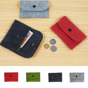 Wholesale 1PC Thin Wallet Solid Square Felt Mini Coin Purse Small Bag Mini Wallet Girl Change Purse Bag Business Card Holder