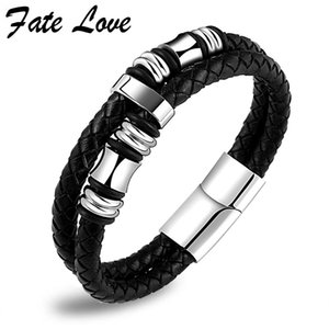 Wholesale Double Layer Leather Bracelet Men Jewelry Stainless Steel Magnet Clasp Mens Bracelets Jewellery Handmade Pulseras Hombre