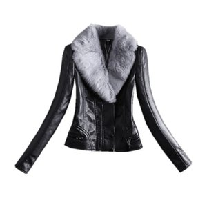 Wholesale 2018 new women large size pu leather short plus velvet thick real fur collar PU washed jacket women casual coat