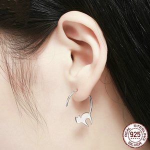 Wholesale cat earring sterling silver for sale - Group buy 925 Sterling Silver Earring Cute Cat Stud Jewelry Simple High Polished Earrings for Women Brides Bridesmaid Valentines Day Gifts